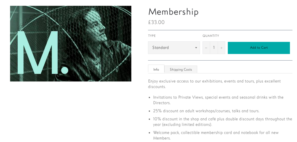 Screenshot of The Hepworth Wakefield's membership product in their online shop