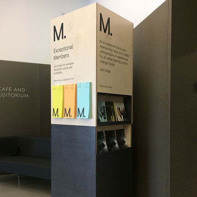 Photo of The Hepworth Wakefield's 'membership stand' in the foyer of the gallery