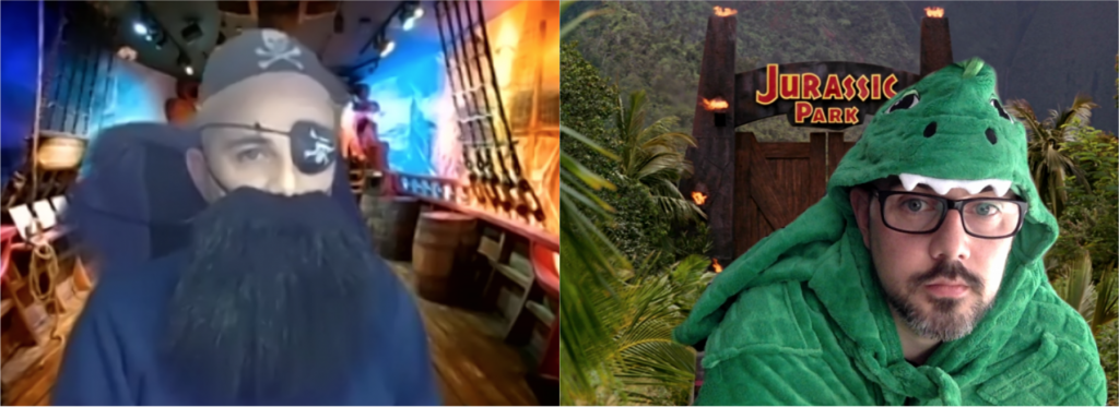 Screen grabs of a man on a video call dressed as a pirate and as a dinosaur