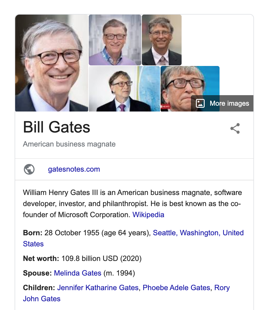 Bill Gates Rich Snippet