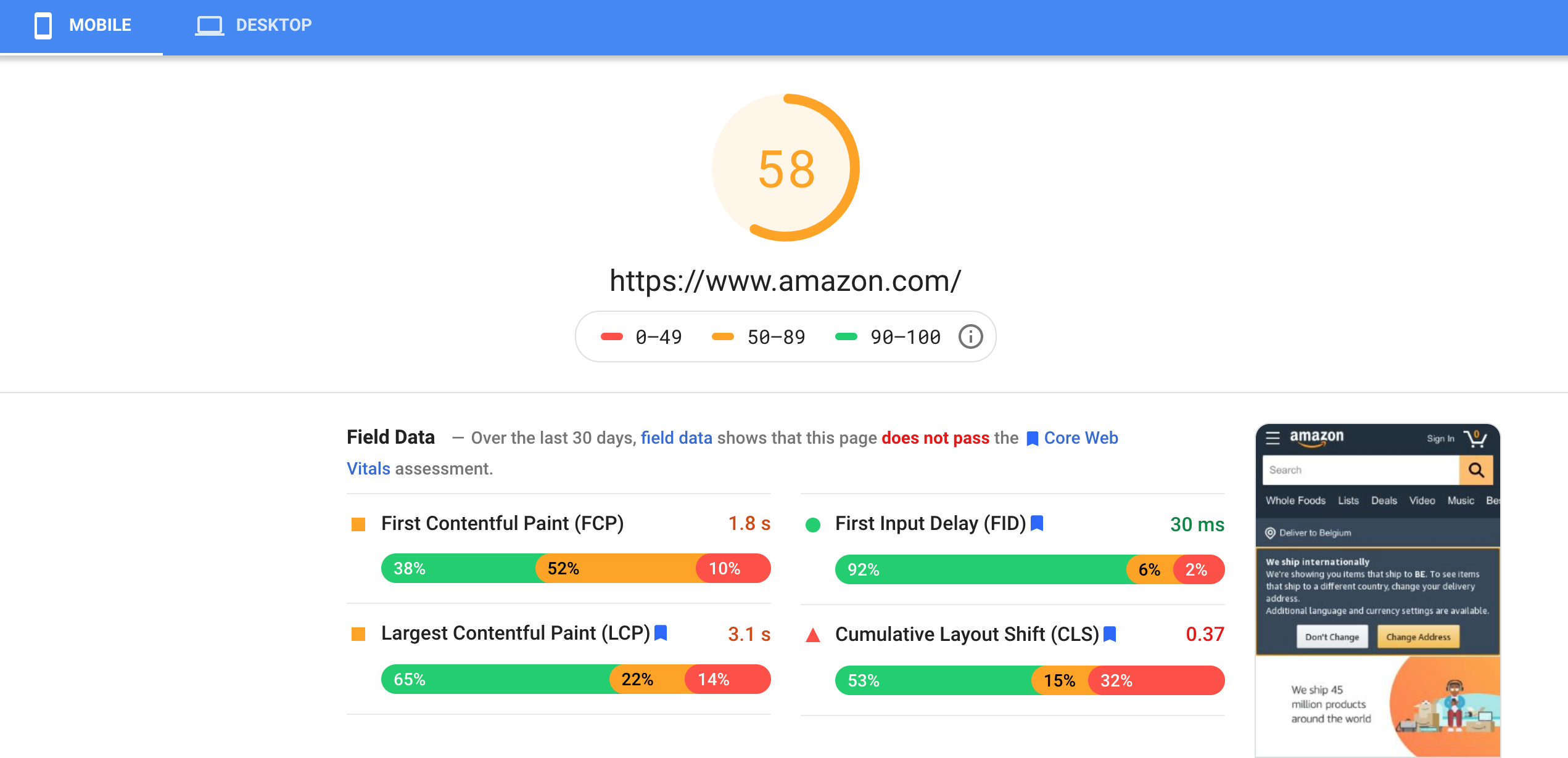 Amazon PageSpeed Insights