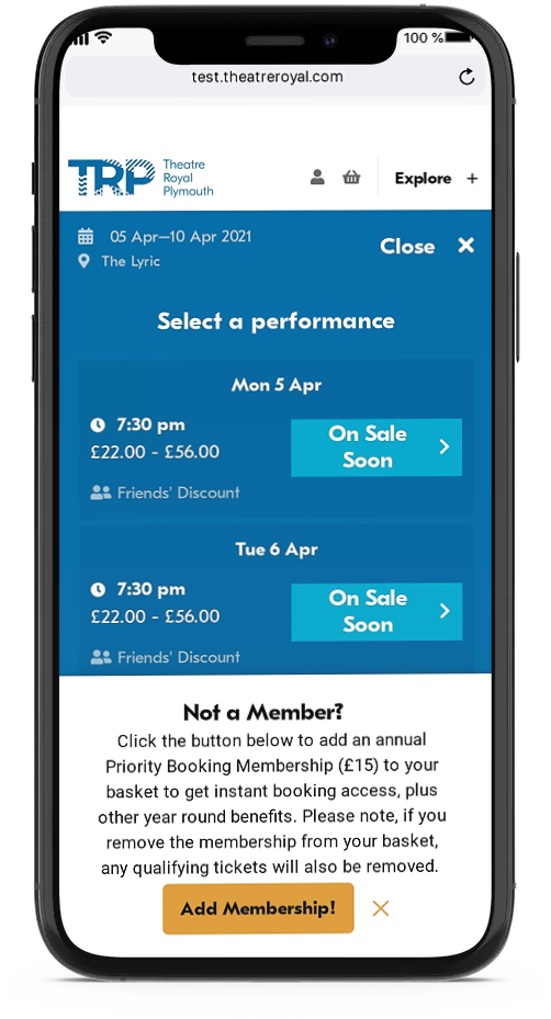 Performance listing on an iPhone with a SmartLink to add membership